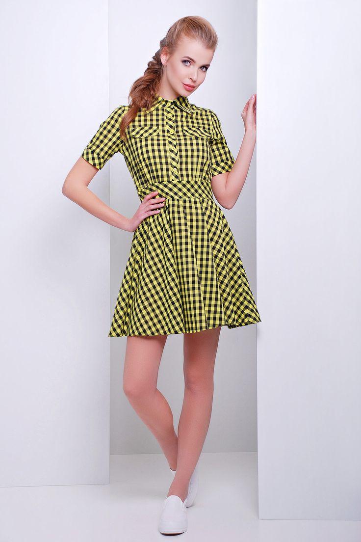 короткое клетчатое платье рубашечного типа с юбкой клеш. платье Джеки к/р. Цвет: желтый-черная клетка