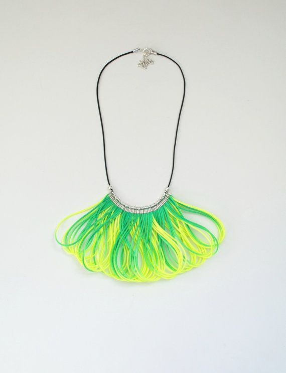 Ombre Green and Yellow Statement Bib Necklace by elfinadesign