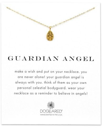 Dogeared 14K Yellow Gold Plated Sterling Silver Guardian Angel Engraved Pendant Necklace