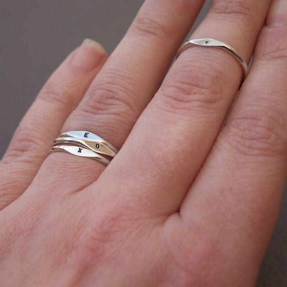 Silver letter ring Handmade tiny ring Stacking by JewellCollect