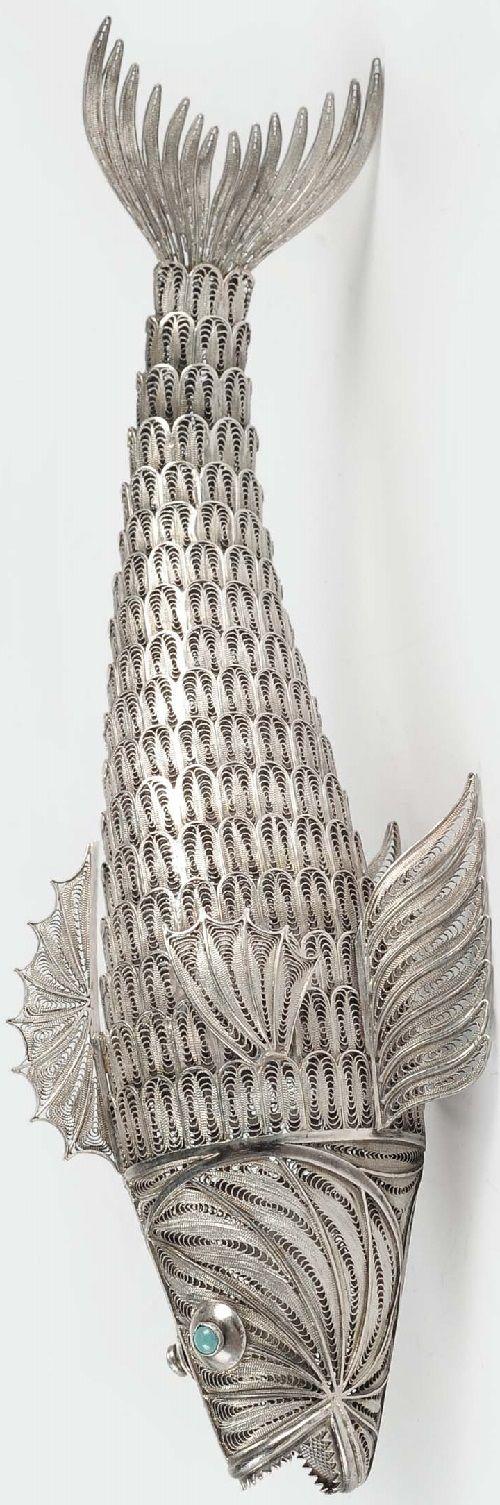 Silver filigree fish, Genoa 20th century