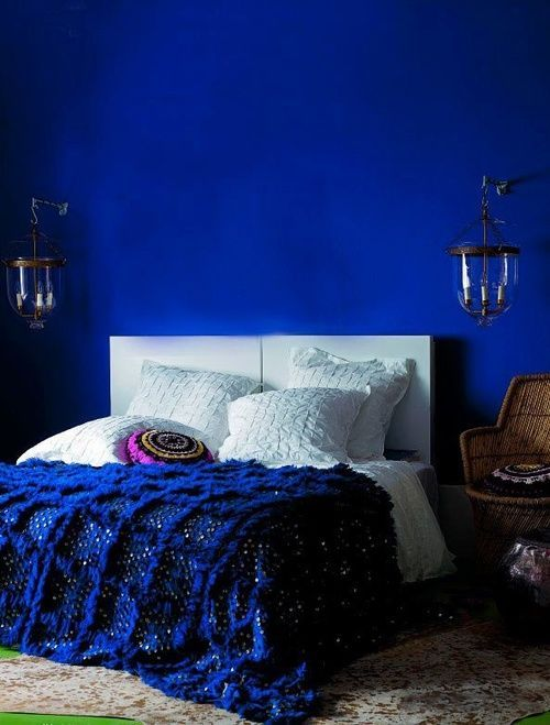 Maybe a version of this in my kitchen, think Frida Kahlo's Casa Azul, just on the east wall and very painterly, not just a flat blue.  chambre bleue