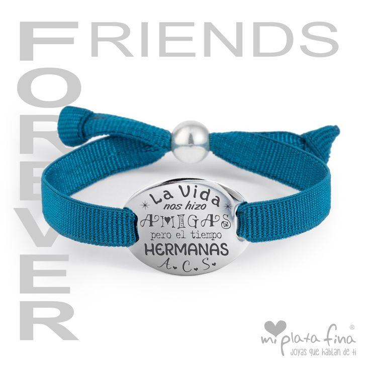 La vida nos hizo amigas, pero el tiempo ...hermanas Pulseras de plata personalizadas
