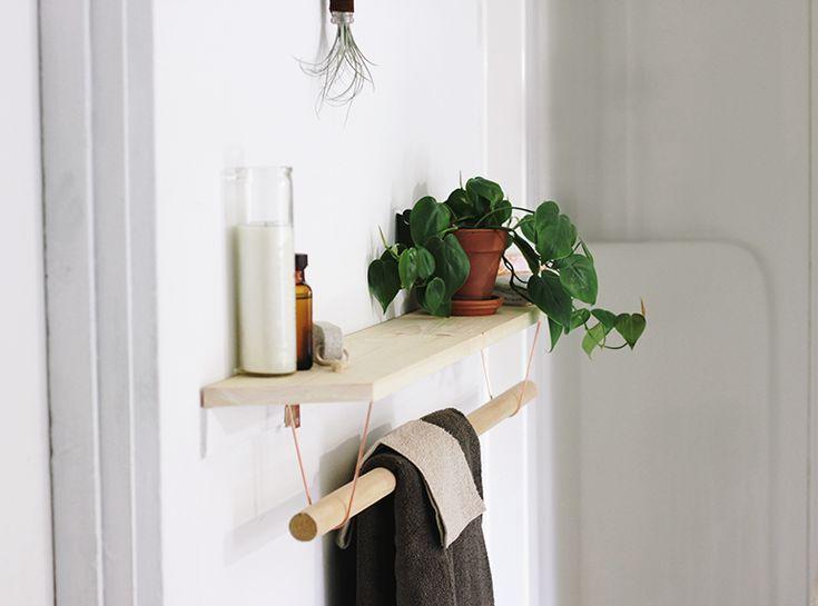 Diy towel bar shelf
