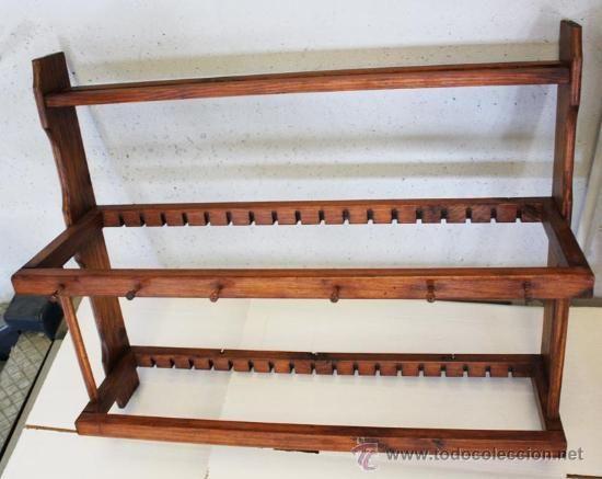 Platero en madera de pino barnizado en color nogal 19 - Friso de pino barnizado ...