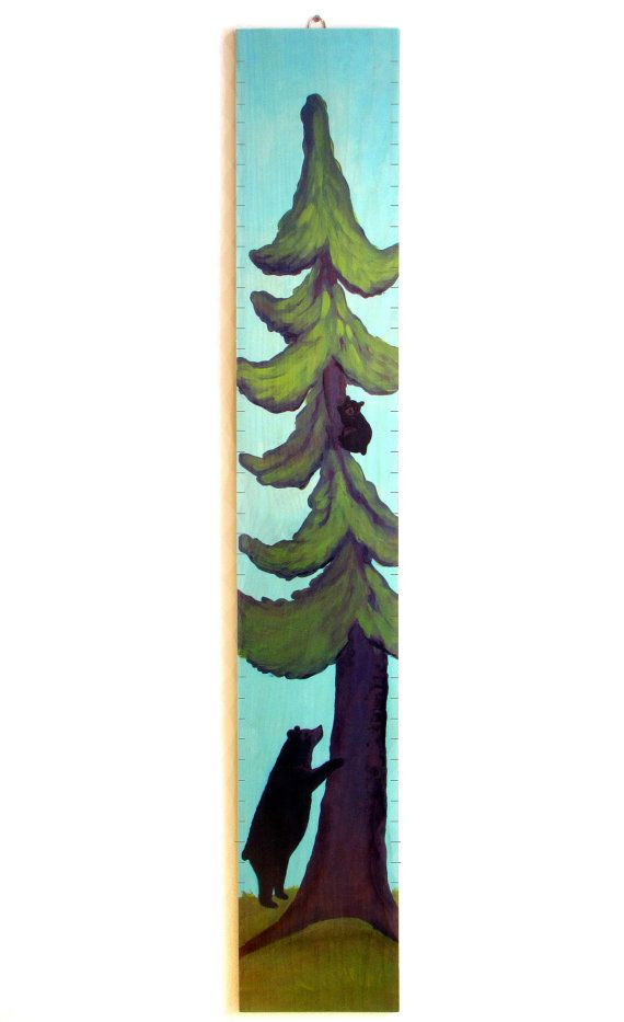 Tree & Black Bears Wooden Growth Chart by GrowthChartArt on Etsy, $65.00