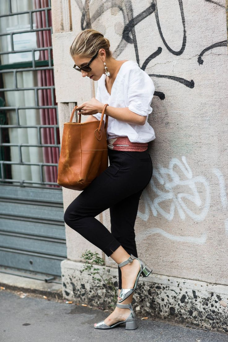 cropped pants, sash belt, flowing blouse