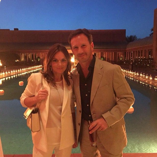 """""""Geri with fiance Christian Horner at David's 40th birthday party in Marrakech, Morocco last night!! ✌️ #spicegirls #party #celebration #DB40…"""""""