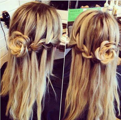 Waterfall-braid-with-rose-bun