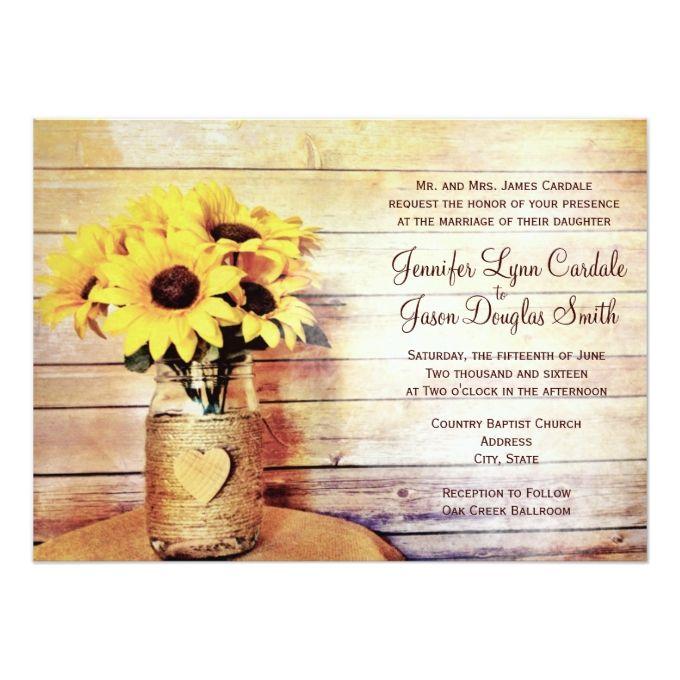3929 best Mason Jar Wedding Invitations images – Sunflower Wedding Invitations Kits