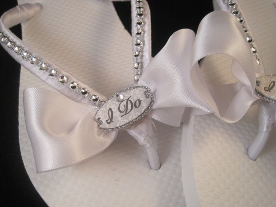 NEW STYLE 2013 So Sweet Bride I Do White Bridal Wedding Flip Flops on Etsy, $23.95