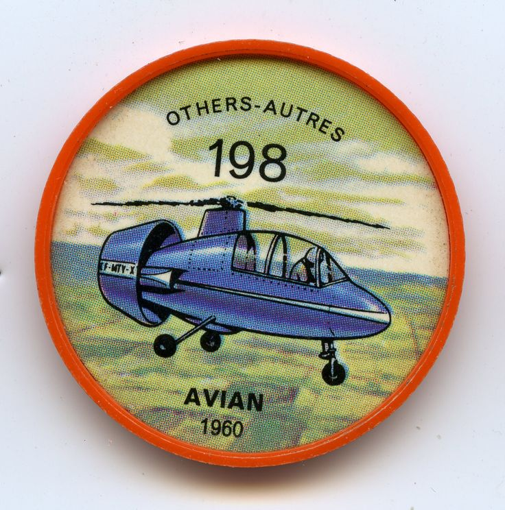 Jell-O Coin 198 - Avian (1960) -The autogyro concept of flight, developed 30 years earlier and subsequently abandoned, has been revived by the developers of Canada's promising Avian Gyroplane. The object is to combine the vertical takeoff advantages of the helicopter with the all-round high performance of the conventional light aircraft. Specifications: Length 16 feet, 2 inches. Rotor diameter 33 feet. Weight 1,720 pounds. Speed 150 mph. Range 400 miles. Power from one Lycoming engine of 180…
