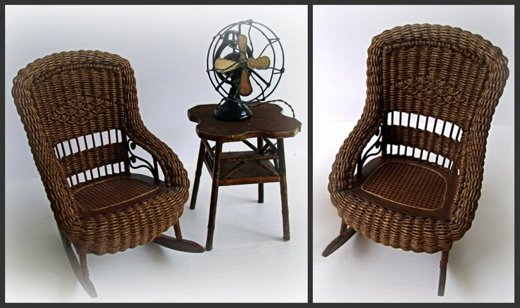 Gorgeous Edwardian wicker porch rocking chair by Carolyn Lockwood, Faux bamboo side table by Bob Van Doren, Electric table fan by The Kummerows: via Monica Roberts