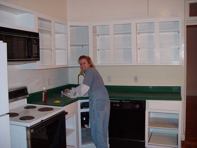 Wow, updated Counter top using Textured Spray Paint! What a great idea!  Basement