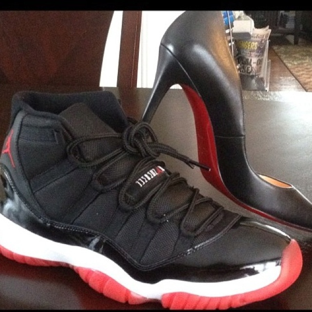 His and hers \u0026quot;red bottoms\u0026quot;. The Air Jordan Bread and C. Loubs ...