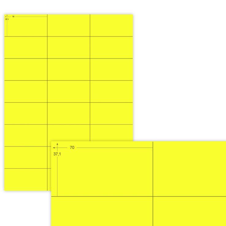 Etiketten Farbig - 100 Blatt 70 x 37,1 mm | Gelb | matt