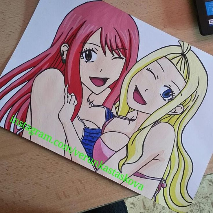 Paper paiting, watercolor. Anime/manga: Fairy Tail [Lucy Heartfilia x Mirajane Strauss]