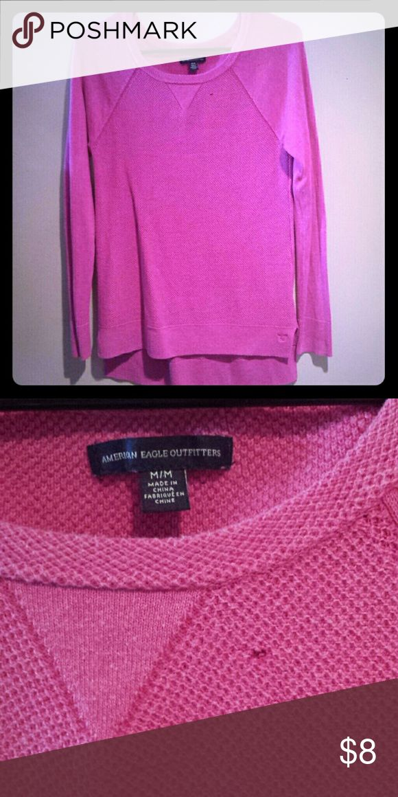 American Eagle Pink thermal legging shirt Pink AE thermal legging shirt. Super soft and comfy. Has one small snag as shown. Looks great with leggings or skinny jeans. Long enough in the back to cover your tush! American Eagle Outfitters Tops
