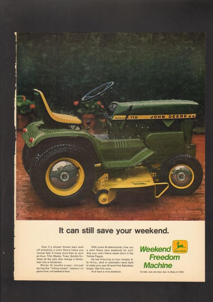 1969 Print AD John Deere tractor lawn mower green rain www.advintageplus.com