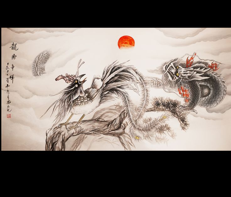 Phoenix And Dragon Chinese Feng Shui Painting Modern Wall Art Décor