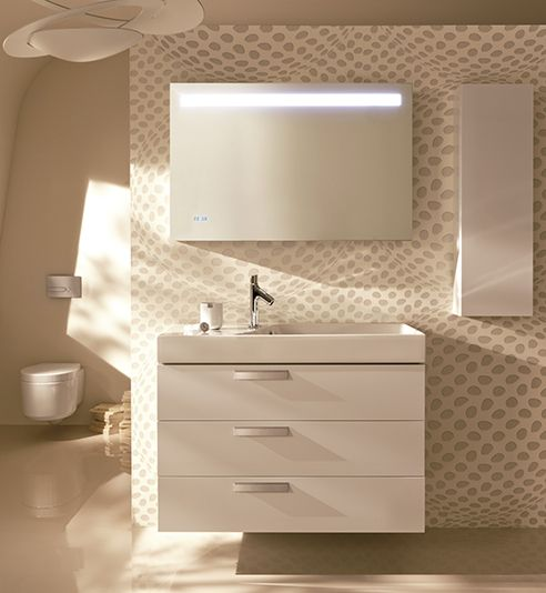 Conjunto de mueble con formas simples y minimalistas de colores luminosos. Un cuarto de baño con un estilo sofisticado.