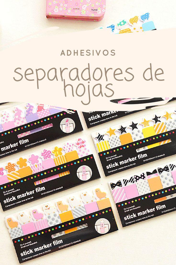 Separadores de hojas con adhesivo, ideal para marcar tus páginas de una manera creativa y original.