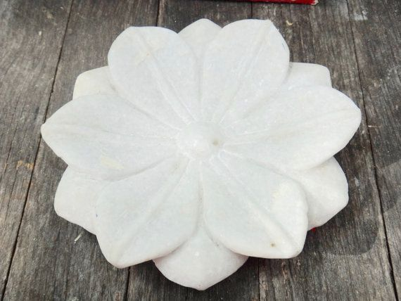 Lotus Flower Alabaster White Flower Asian Decor by MaxsUniquities