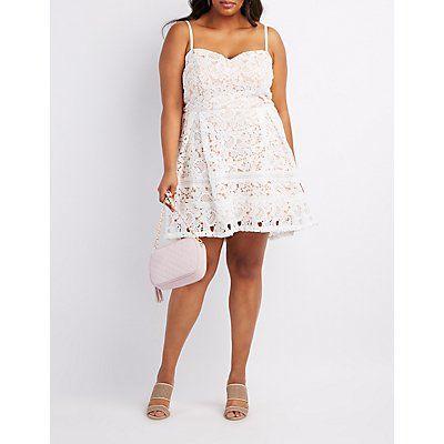 Plus Size White Crochet Overlay Skater Dress - Size 1X