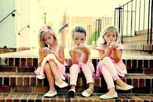 So darn cute! Get the flower girls getting ready like big girls :)