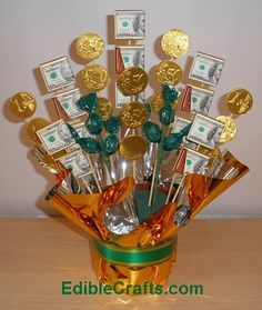 St Patrick Day Crafts: Money Candy Bouquet DIY