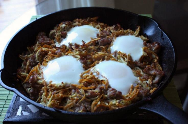 Sweet potato, apple, sausage and egg hash: Potatoes Hash, Baking Eggs ...