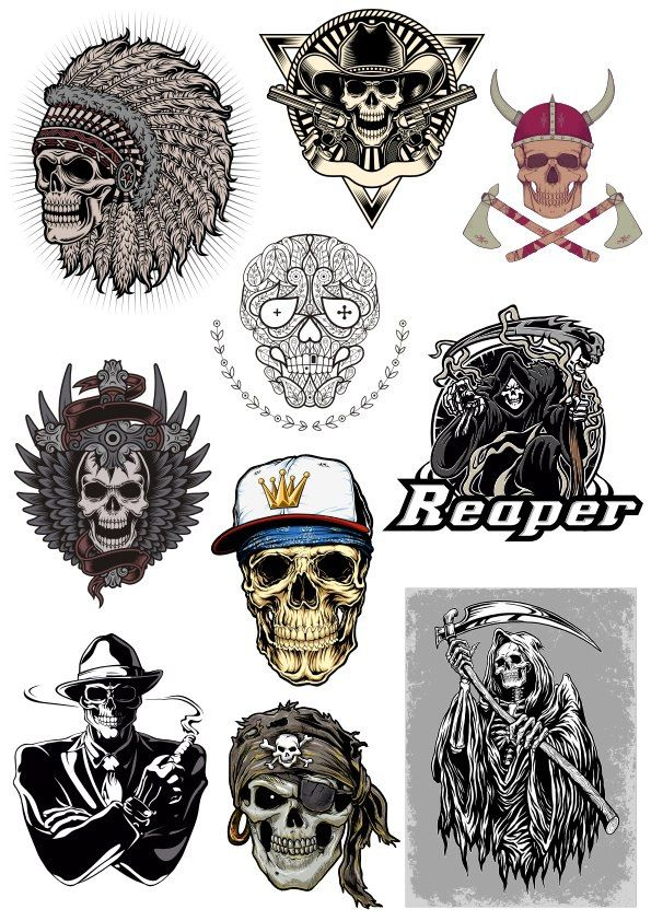 Free Skull Vector Pack Free Vector cdr Download | Cute patches ...