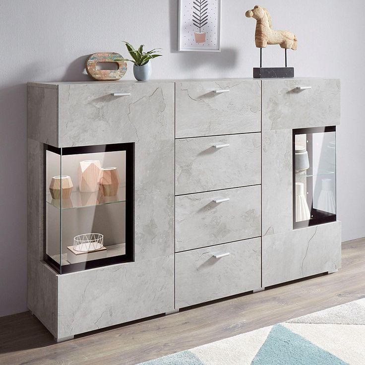Sideboard, Breite 132 cm mit Türen mit Glaseinsatz Jetzt bestellen unter: https://moebel.ladendirekt.de/wohnzimmer/schraenke/sideboards/?uid=cfba8edd-9542-53df-b584-85171c2a1e79&utm_source=pinterest&utm_medium=pin&utm_campaign=boards #schraenke #wohnzimmer #sideboards
