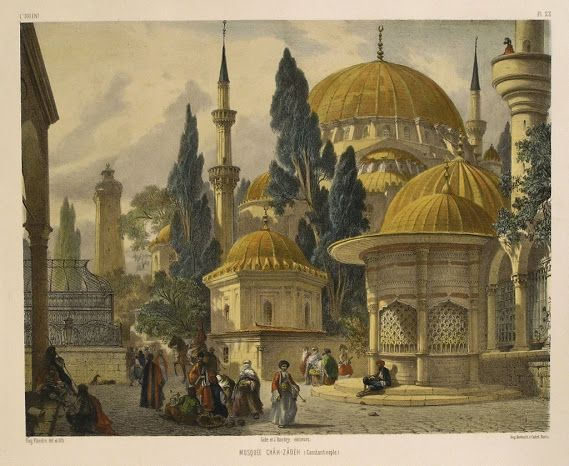 MOSQUEE+CHAH-ZADEH,+CONSTANTINOPLE,By+Jean-Baptiste+Eugene+Napoleon+Fladin,Hand+coloured,+Published+by+Gide+&+J.+Baudry,+Paris+1853,Original+antique+lithograph.jpg (569×466)
