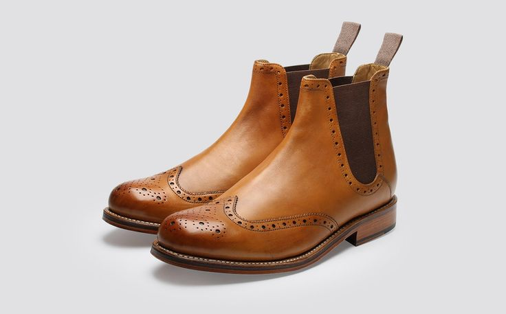Mens Chelsea Boot in Tan Calf Leather with a Leather Sole | Jacob | Grenson Shoes - Three Quarter View