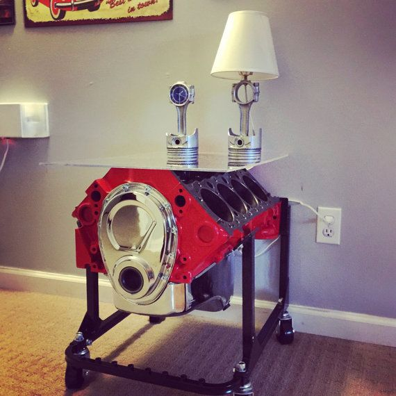 Re-purposed Small Block Chevy Engine End Table