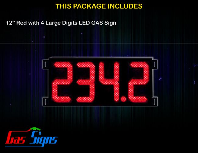 12 Inch Gas Price LED Sign (Digital) Red with 4 Large Digits with housing dimension H400mm x W944mm x D55mmand format 888.8 comes with complete set of Control Box, Power Cable, Signal Cable & 2 RF Remote Controls (Free remote controls).