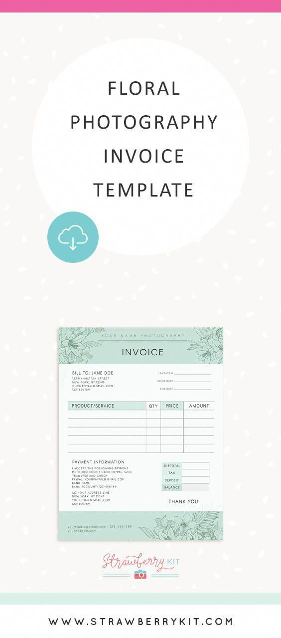 floral photography invoice template floral invoice template photography photoshoptutorials