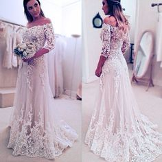 Stunning Off Shoulder Half Sleeve Long A-line Wedding Party Dresses, WD0059 The wedding dresses are fully lined, 4 bones in the bodice, chest pad in the bust, lace up back or zipper back are all avail