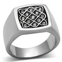 PR6217SWOC Pánsky prsteň z chirurgickej ocele so Swarovski krištáľmi #supersperky