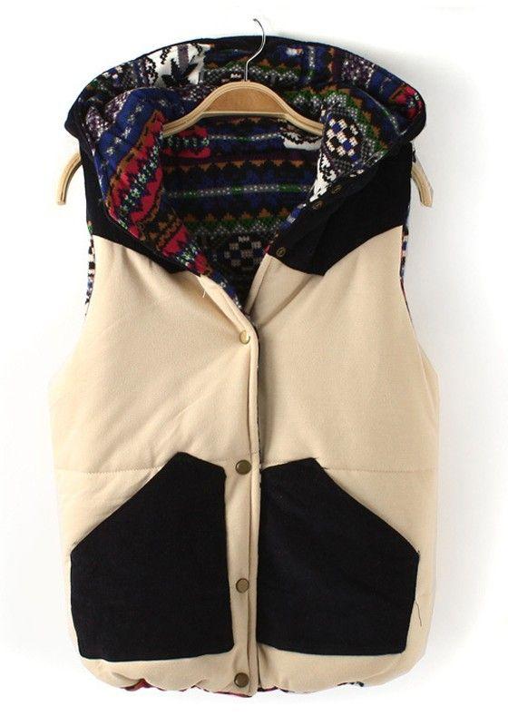 Blue Patchwork Pockets Collar With Hat Corduroy Vest