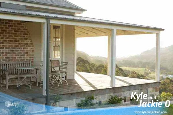 The beautiful veranda. Jackie O's Farm House In The Kangaroo Valley. Roofline / wraparound verandah / stone