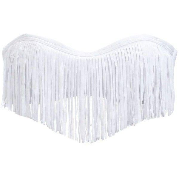 Fringe-Trim Bandeau Bikini Top ($4.99) ❤ liked on Polyvore featuring swimwear, bikinis, bikini tops, swimsuits, bathing suits, swim, white, white swimsuit, bikini top and white bandeau bikini top