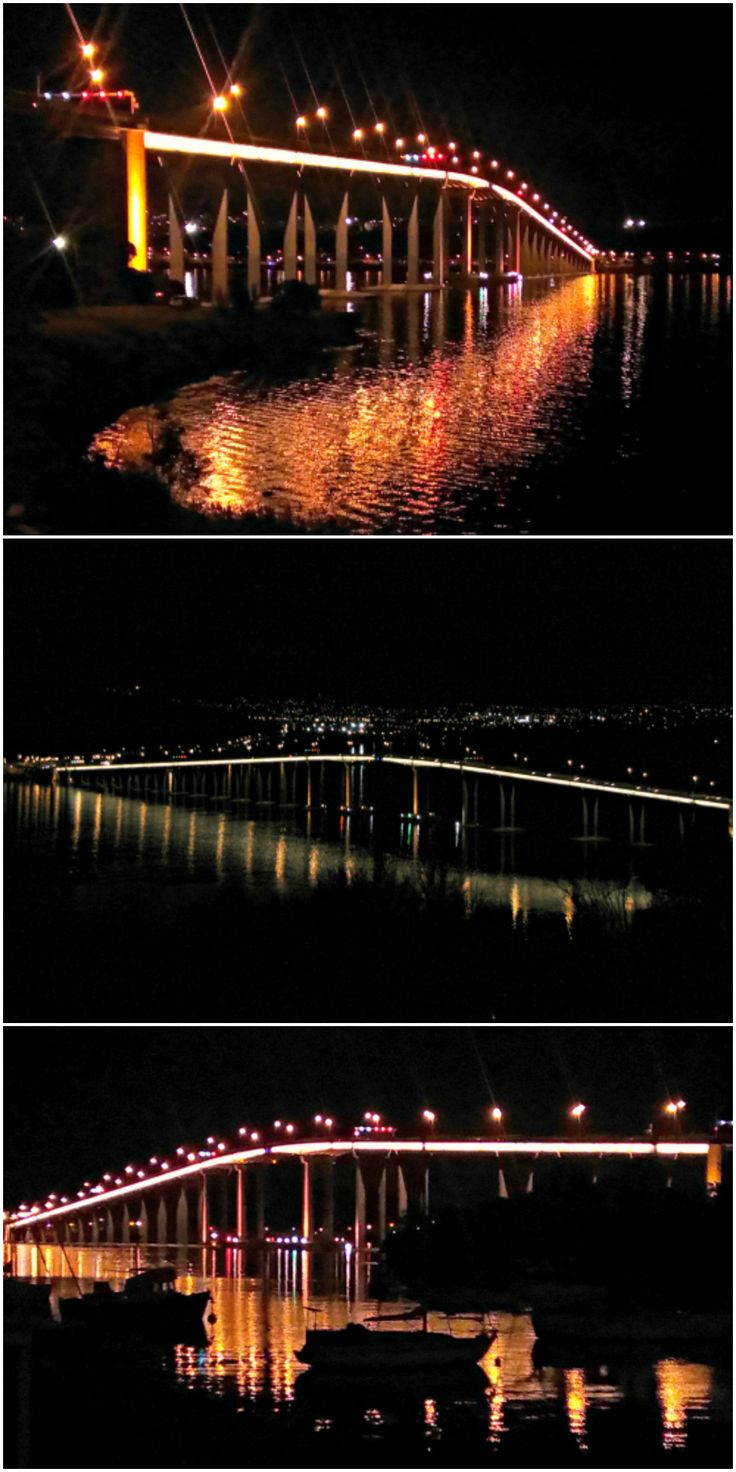 Night views of Hobart's Tasman Bridge from the eastern shore. Article and photos for think-tasmania.com #Hobart #Tasmania