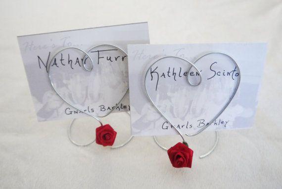 Filo singolo cuore rosso rosa portafoto o il titolare della