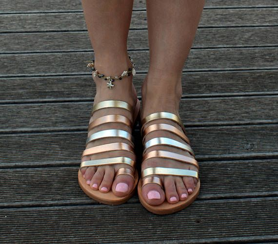 Ancient Greek Sandals, Sandals with straps, Gold leather sandals, Toe ring sandals,  Leather Sandals Women  ''Eleftheria''