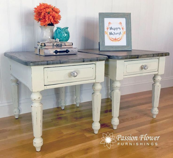 """""""This pair of oak side tables were given a farmhouse, cozy look. They were painted with General Finishes Bone White Chalk Style Paint, distressed in all the right places then top coated to give protection against everyday use. The tops were stained to give a weathered wood look to them."""" - Passion Flower Furnishings"""