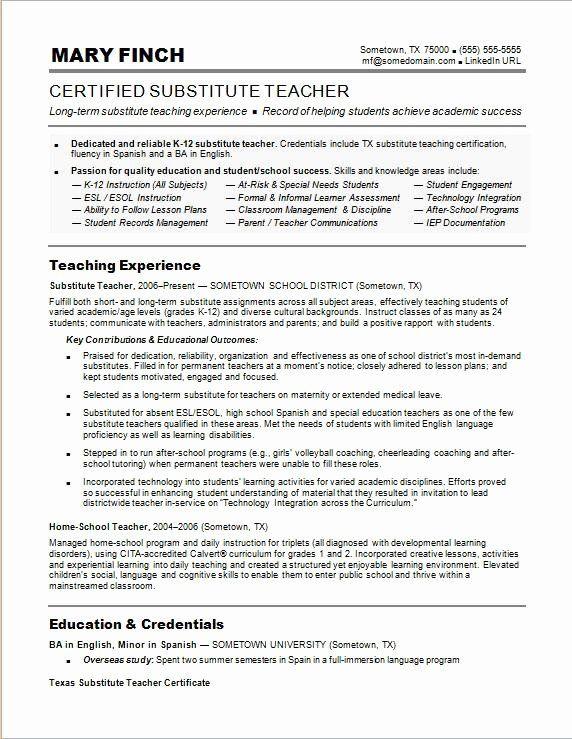 Substitute Teacher Resume No Experience Awesome Substitute Teacher Resume Sample In 2020 Teacher Resume Examples Teacher Resume Template Substitute Teaching
