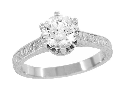 Art Deco Crown Filigree Scrolls 1.23 Carat Solitaire Diamond Engraved Engagement Ring in 18 Karat White Gold $4,980.00 http://www.antiquejewelrymall.com/r199wd125.html