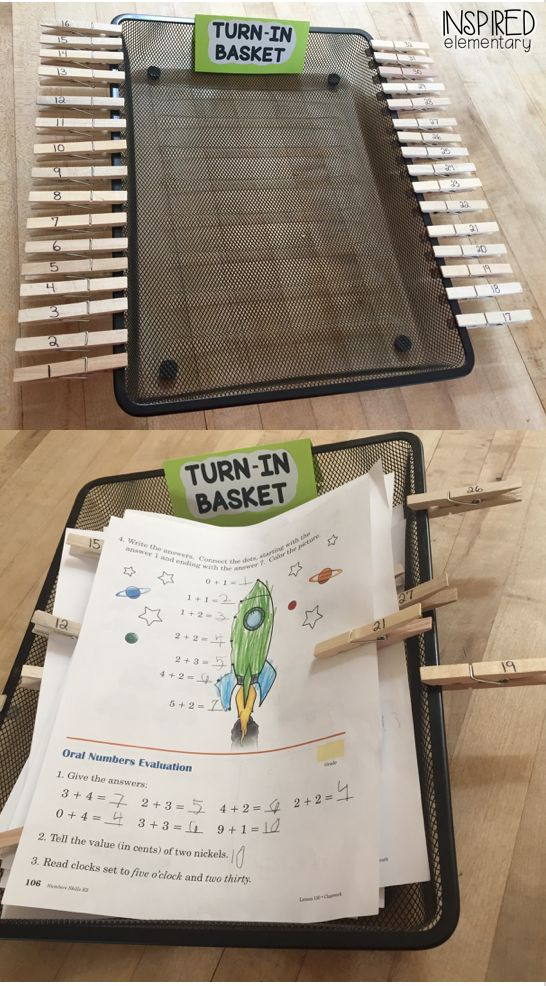 This turn-in basket has saved me tons of time sorting through papers each morning!